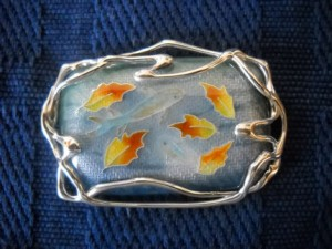 Brooch Pendant Two Fish in an Autumn Pond